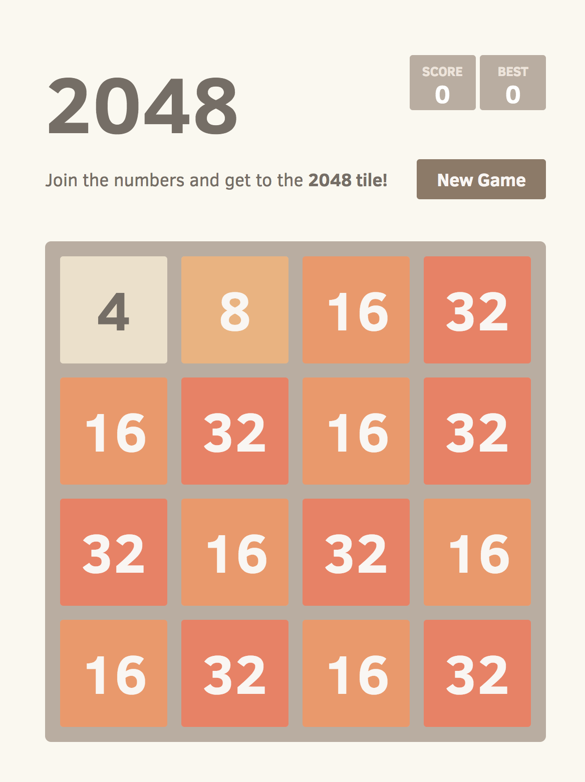 Screenshot of 2048 with an improbable but reachable board configuration