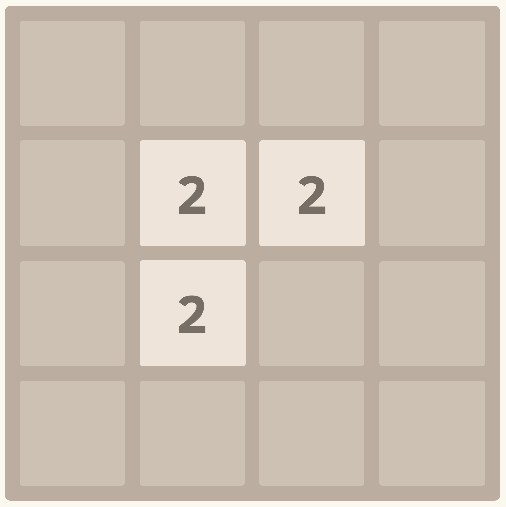 An infeasible board position with three 2 tiles in the middle with empty cells around