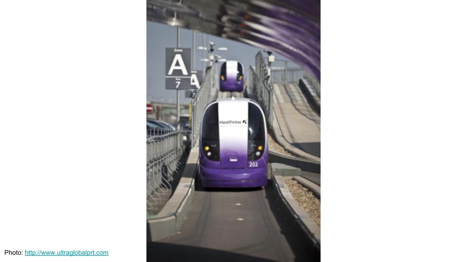Photo of a driverless taxi from the Heathrow Pod system