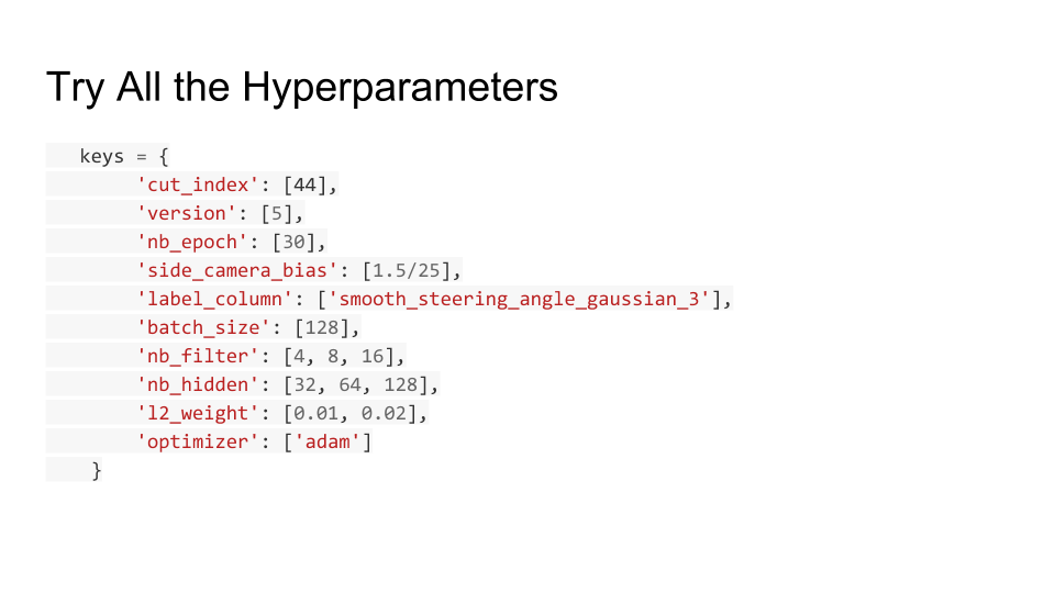 A python Dict with some of the hyperparameters to tune