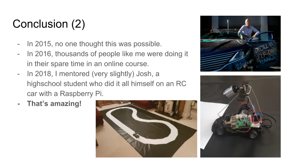 Conclusions as in the text, plus pictures of Sebastian Thrun, an RC car and a track for the RC car