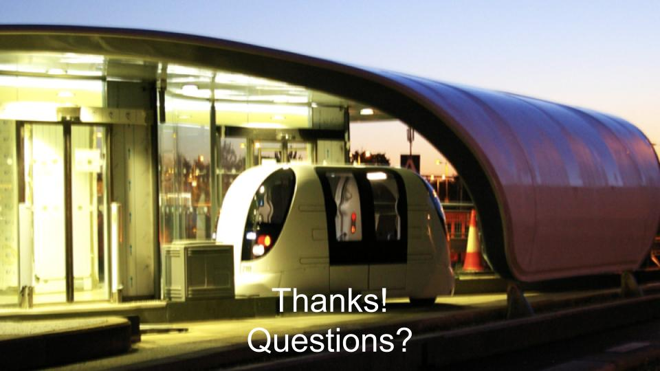 Photo of a Heathrow Pod vehicle at dusk in one of the business parking stations